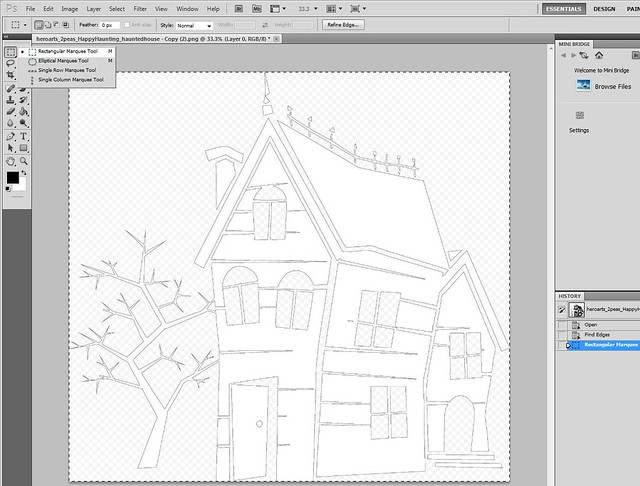 Step 3) To make a shadow, paste this outline over the original. Use rectangular marquee tool & control C to copy