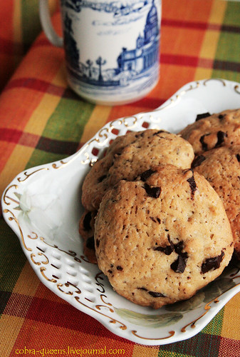 Cookies with chocolate pieces and nuts