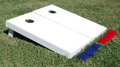 Painted White Cornhole Boards