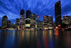 Brisbane City (fredfunk05) Tags: city blue motion skyline architecture night river lights nikon dusk australia brisbane bluehour brisbanecity d60 brisbaneskyline riperian 111eagle brisbanedusk