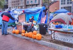 Jack-O'-Lanterns at Occupy Boston (Robert Kendall) Tags: usa halloween boston photoshop pumpkin tents jackolantern massachusetts protest flags hdr photomatix deweysquare occupyboston