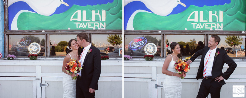 Bride and Groom Laugh at Alki Tavern
