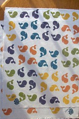 printing three: whales for lili and jessica (imaginegnats) Tags: handmade fabric whales handprinted blockprinting fabricswap