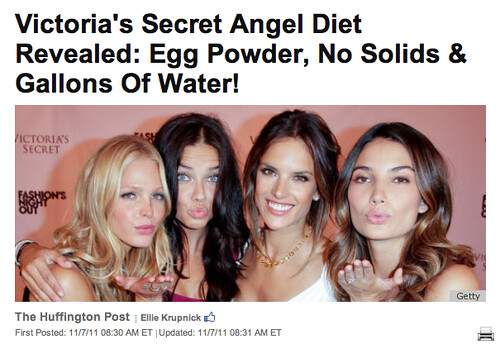 Huffington Post screen shot of four Victorias Secret models making kissy faces at the camera