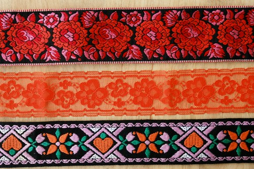 woven ribbon + lace