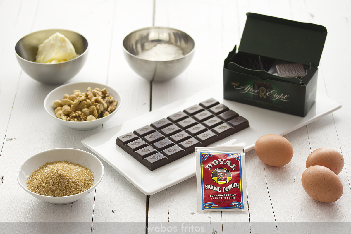Ingredientes para los brownies de After Eight