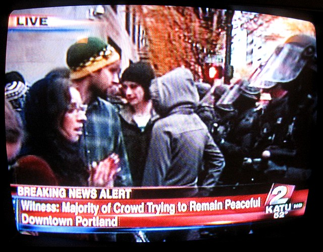 Occupy Portland: standoff at 4th & Main, Portland, OR, 11/13/11 about 4:25 PM on KATU