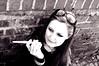 Smoking girl (Magdalena photography CZ) Tags: portrait white black brick girl sunglasses wall clouds photography blackwhite pentax cigarette smoke smoking rings magdalena holder cigaretteholder pentaxk10