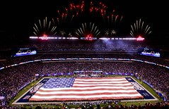 Marines, Sailors, Coast Guardsmen, Airmen and Soldiers unfurl American Flag at New York Giants military appreciation game Nov. 20 (NYCMarines) Tags: nyc longexposure coastguard usa usmc night soldier army football fireworks flag band soldiers playoffs giants marines airforce usn veterans veteransday quantico unfurl airmen marinecorpsband servicemembers