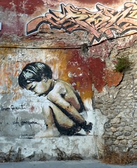 Granada Street Art (Malcolm Bull) Tags: street boy baby art june wall graffiti spain granada 365 include 2011 365176 20110625 p1020475web