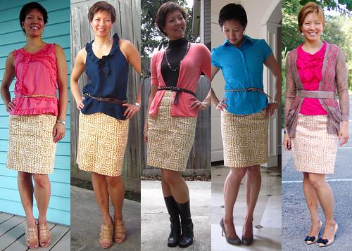 brown dot pencil skirt 01