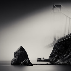 Fog Horn (~ superboo ~ [busy busy]) Tags: sanfrancisco longexposure bridge mist fog marina golden gate rocks horn fortbaker limepoint