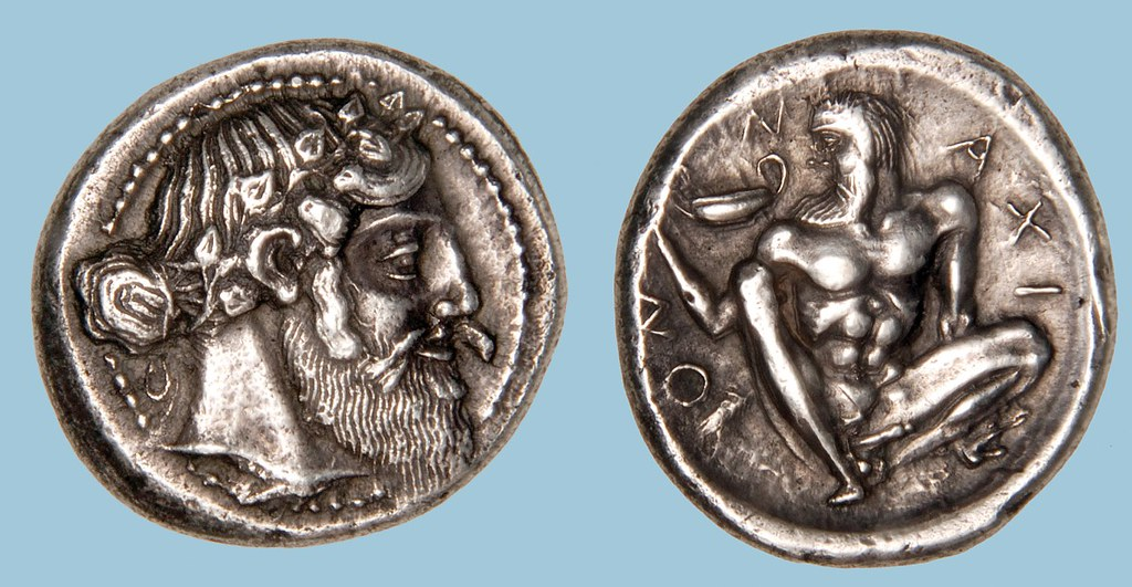 A Rare Greek Silver Tetradrachm of Naxos (Sicily), Among the Finest Examples of the Severe Style of Early Classical Art