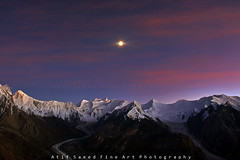 Moon Over Karakorum.. (M Atif Saeed) Tags: pakistan mountain mountains nature landscape karakoram rushlake mindigtopponalwaysontop atifsaeed