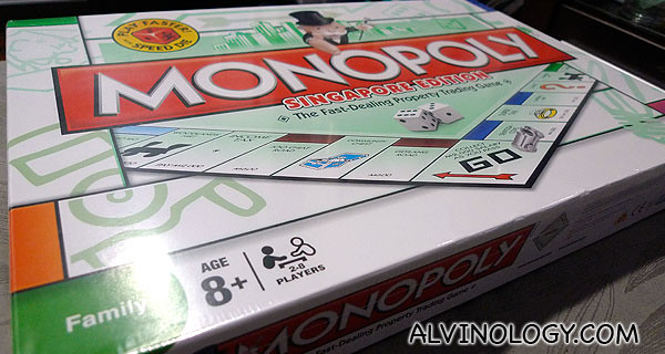 My new set of Singapore edition Monopoly board game