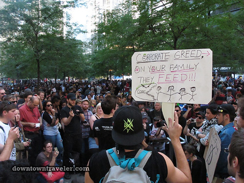 NYC Occupy Wall Street Rally Oct 8 2011 corporate greed sign