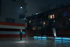 Midnight Rabbit (Joep R.) Tags: street rabbit bunny playground night lights mask slide numbers midnight concept bluelight amsetrdam