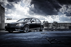 ADV.1 Mercedes S550 (GREATONE!) Tags: blue sky clouds buildings dark grey mercedes nikon florida miami mia nikkor fla f28 2470mm s550 adv1 d300s