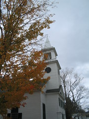 Church in Center of Salisbury, NH (catchesthelight) Tags: blue trees red orange white color green fall cemetery leaves yellow fence maple scenery colorful moments newengland nh fallfoliage foliage stonewall birch maples gravestones momentos picket leafpeeping itsmulticolored centralnewhampshire fallfoliagephotography