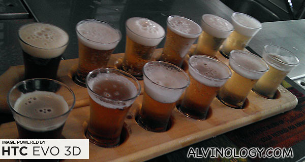 The beer tasting paddles