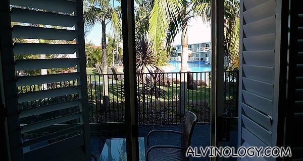 View from my hotel room's back door
