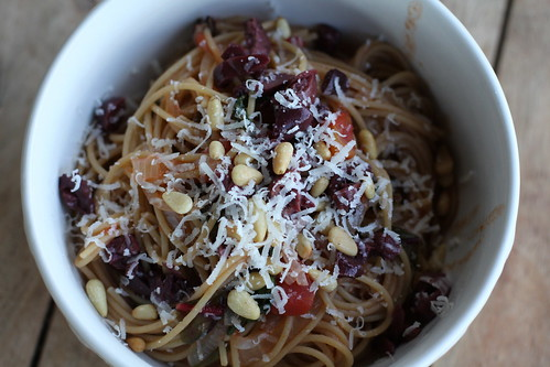 Spaghetti with Swiss Chard, Onions, Kalamata Olives, and Pecorino