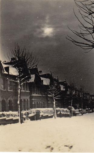 Elfindale Road, London, in snow.