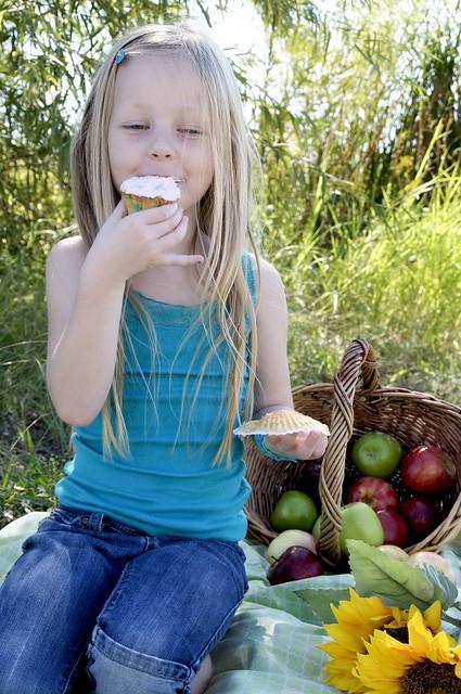 eating her cupcake