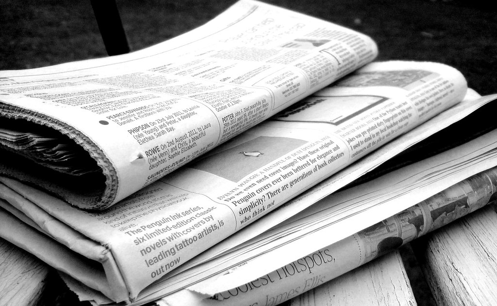 Newspapers B&W (5) by NS Newsflash, on Flickr