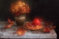 These Dark Days Of Autumn Rain (panga_ua) Tags: stilllife art fall glass rain composition canon artistic availablelight ukraine pomegranates waterdrops arrangement tabletop mapleleaves bodegon fallenleaves naturemorte darkdays artisticphotography naturamorta artphotography blurryvision autumnn nataliepanga thesedarkdaysofautumnrain