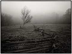 Middle Creek Battlefield (Jeff Damron) Tags: autumn blackandwhite bw fall fog sepia kentucky civilwar battlefield middlecreek lr3 olympuse620 niksilverefexpro2 zuiko918mmlens