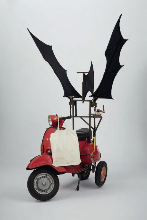 John Bock, Wright, 2008, Vespa with wings, 22 drawings and linen bag, Phillips November 8 2011 Sale, Lot 353