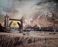 Voyages (Jeanne Masar) Tags: photomanipulation digitalart dirigible steampunk londontowerbridge alternatehistory makeitinteresting jeannemasar