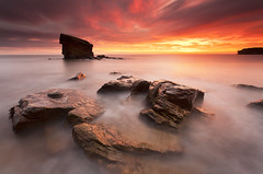 Charlie's on fire (Steve Clasper) Tags: uk longexposure sunrise dawn coast rocks north stack northern northeast seatonsluice collywellbay charliesgarden steveclasper
