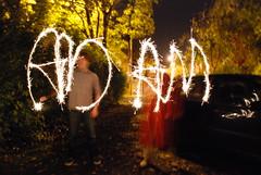 Diwali sparklers, Kesavan and I spell out my name xD (adambangor) Tags: party england festival fireworks lakshmi sparklers lighttrails diwali festivaloflights newcastleupontyne tynewear tyneandwear fenham goddessofwealth