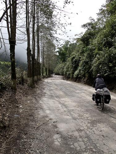 Emma cycling towards Yuanyang