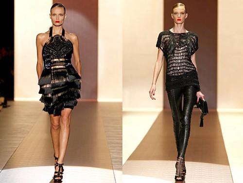 Gucci-Primavera-Verano-2011-vestido-negro-Poly-pantalon-cuero-Sigrid