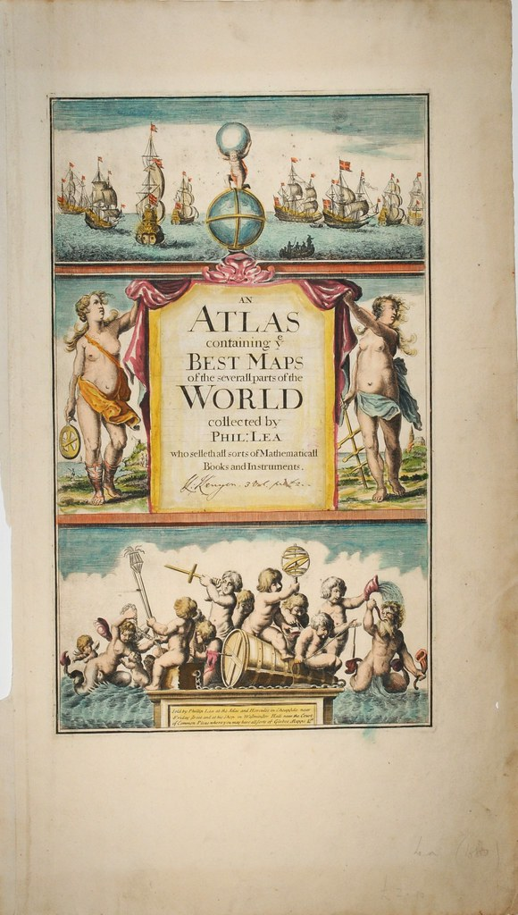 nautical-themed, triple-vertical-divided atlas title  page