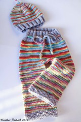 Retro Baby Boyish Rainbow small longies / hat set - SALE