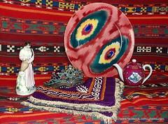 Still Life with antique asian pieces. (Bukhara-suzani) Tags: stilllife scarf vintage silver asian carpet design embroidery antique silk plate jewellery textile teapot russian ethnic uzbekistan porcelain kilim gardner ikat tashkent uzbek suzani