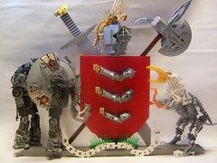 Lego Armstrong Coat of Arms V3 (monsterbrick) Tags: elephant heraldry coatofarms lego helmet crest sword axe armstrong griffin moc monsterbrick