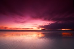 Galapagos sunset (Andr Distel Photography) Tags: ocean chile longexposure travel sunset vacation beach peru southamerica water clouds reflections landscape photography dusk galapagos algae vulcano fineartphotography isabelaisland andredistel andrdistel