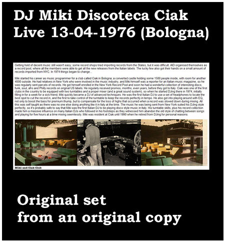 Dj Miki Discoteca Ciak live 13-04-1976 (Bologna) 450