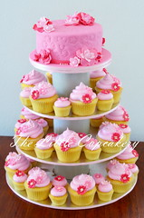 Maya's Christening Cupcake Tower (TheLittleCupcakery) Tags: pink flowers tower maya little cupcake christening tlc cupcakery klairescupcakes