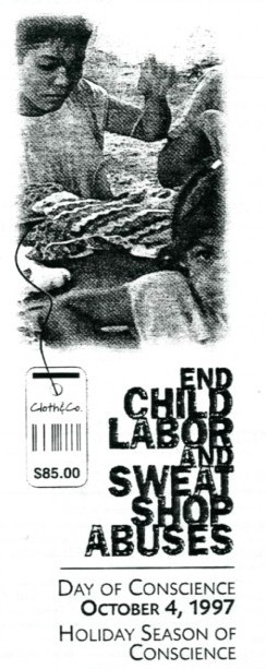250,000 American people signed a petition to President Clinton and the U.S. Congress calling for an end to child labor and sweatshop abuses.