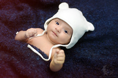 "Baby boy ""Y"" (Rawan Mohammad ..) Tags: blue boy portrait baby white cute art girl hat kids photography 50mm 1 kid nikon artist photographer purple little photos action 4 rocky mohammed newborn saudi arabia nikkor weeks tamron month mohammad 2010 rn   2011 rawan              d300s rnona    d300snewborn"