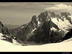 Il ghiacciaio del Gigante... Il Dru e l' Aig Verte (Bonfab1976) Tags: bw montagne alpinismo alpi monti montebianco ghiaccio apls alpinisti