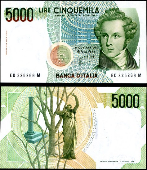 5 000 Lír Taliansko 1985, Pick 111