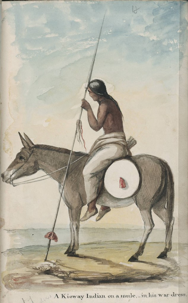 A Kioway Indian on a mule, in his war-dress