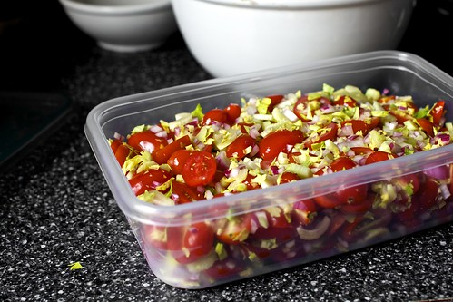 tomato salad, packed and ready to go